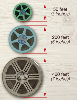 8mm film reel sizes